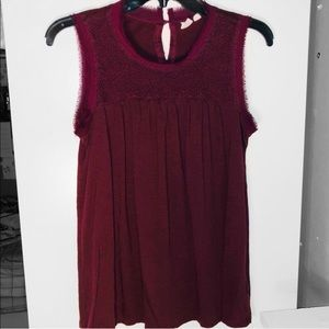 Gap Maroon Embroidered Raw Hem Sleeveless Top - S